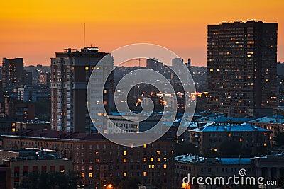 Bright yellow sunset in big city