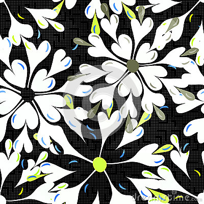 Free Brightly Colored Abstract Flowers On A Black Background Seamless Pattern Vector Illustration Stock Photos - 66126243