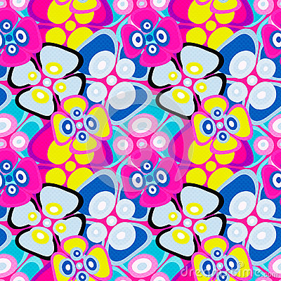 Free Brightly Colored Abstract Flowers On A Black Background Seamless Pattern Vector Illustration Royalty Free Stock Image - 67639726