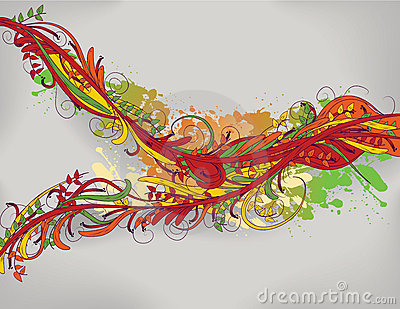 Brightly colored hand drawn floral background