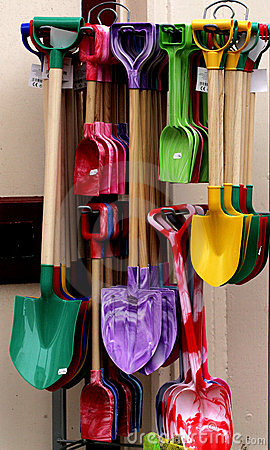 Brightly Colored Shovels