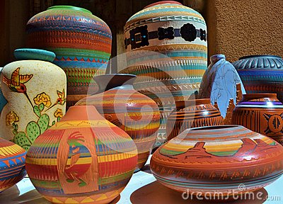 What Is A Chaps Payment >> BRIGHTLY COLORED SOUTHWESTERN CERAMIC CLAY POTTERY Stock Photo - Image: 43955441