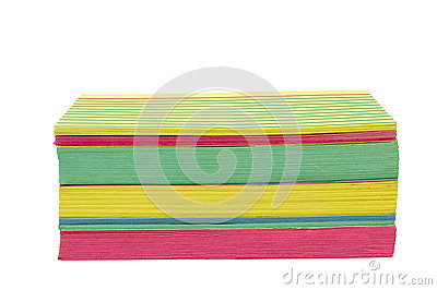 Brightly Colored Stacked Index Cards