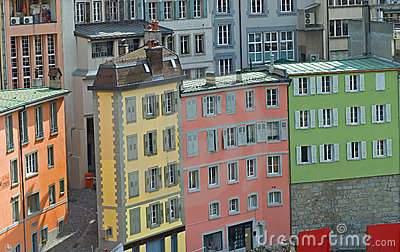 Brightly Colored street buildings