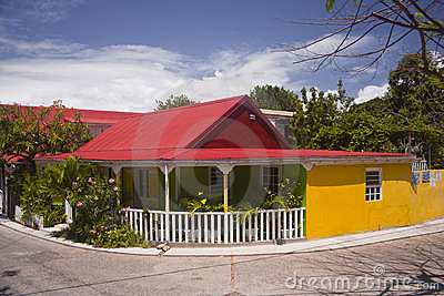Brightly coloured house