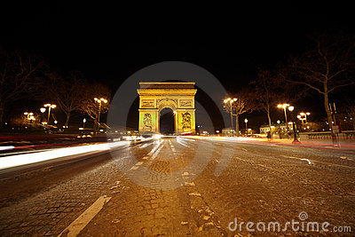 Brightly illuminated Triumphal Arch