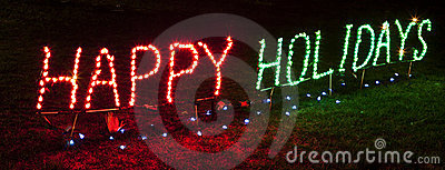 Brightly lit Happy Holidays Sign