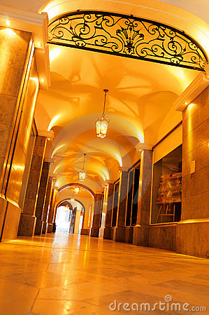 Brightly lit historical passage