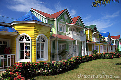 Brightly painted row of shops