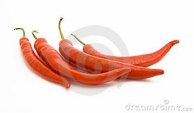 Brightly-red cayenne isolated