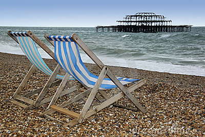 Brighton beach deckchairs west pier sussex england