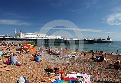 Brighton Beach and Pier in summer Editorial Photo