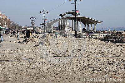 Brighton Beach post Sandy Editorial Stock Image