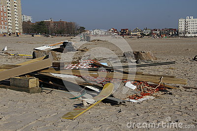 Brighton Beach post Sandy Editorial Stock Photo