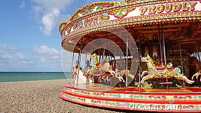 Brighton: carousel on beach panorama
