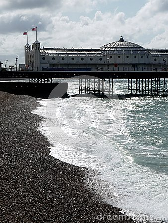 Brighton: pier on cold summer day