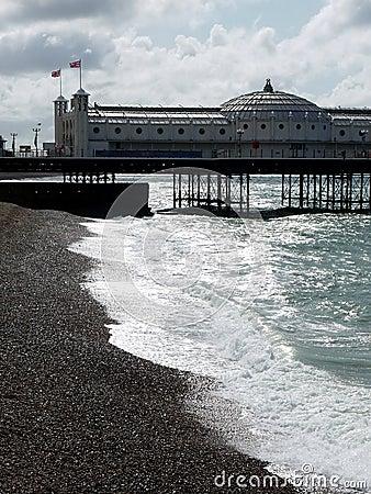 Brighton: pier on cold summer day