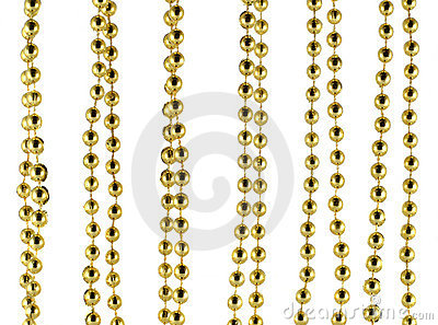 Brilliant celebratory beads of golden color