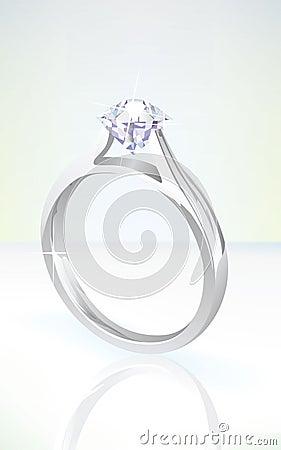 Brilliant diamond engagement ring in white gold