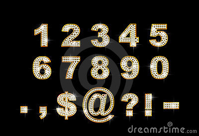 Brilliant digits and signs on dark background