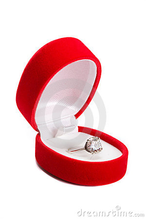 Brilliant ring in box.
