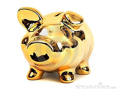 Brilliant shining golden piggy bank