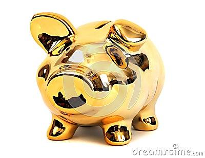 Brilliant shining golden piggy bank