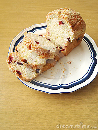 Brioche pastry bread with cranberries