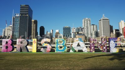 BRISBANE, AUSTRALIA-MARCH, 7, 2017: afternoon front view of the brisbane G20 letters. BRISBANE, AUSTRALIA-MARCH, 7, 2017: afternoon front on view of the colorful stock footage