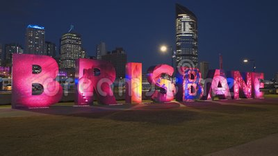 Brisbane, AUSTRALIA-March, 7, 2017: side on view of the G20 Brisbane letters at night. Brisbane, AUSTRALIA-March, 7, 2017: night time side on view of the G20 stock footage