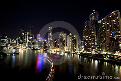 Brisbane city with boat light streaks Editorial Image