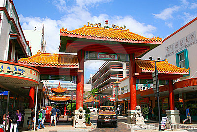 Brisbane City China Town Street Scene Editorial Stock Image