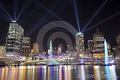 Brisbane City of Lights Laser Display Editorial Stock Image