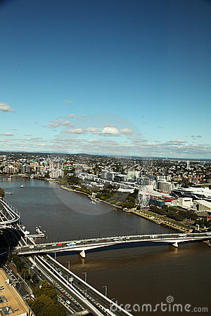 Brisbane City with Victoria Bridge and River view Editorial Stock Image