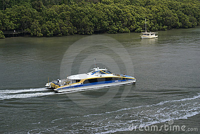Brisbane river with ferry