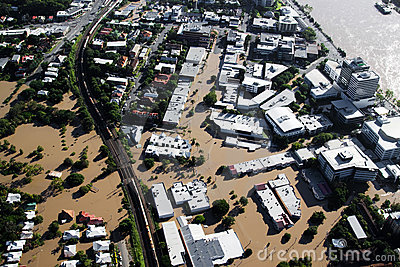 Brisbane River Flood January 2011 Aerial View Milt