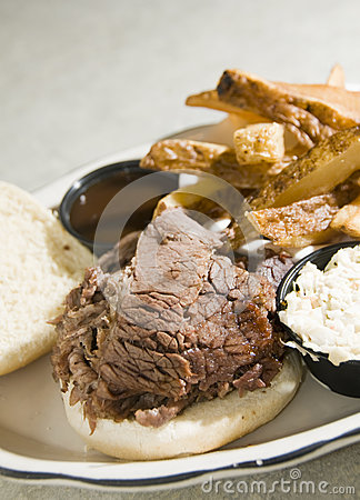 Brisket beef sandwich steak fries barbecue sauce