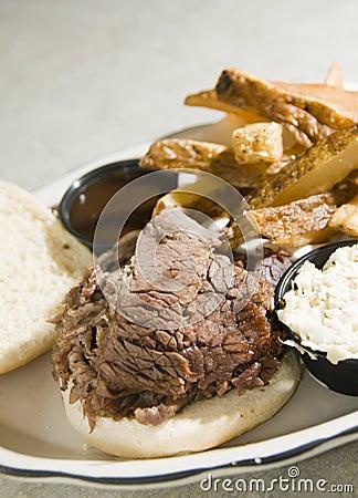 Brisket beef sandwich steak fries barbecue sauce