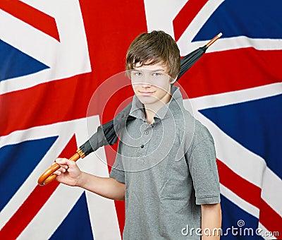 Brit with umbrella