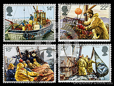 Britain Fishing Industry Postage Stamps Editorial Stock Image