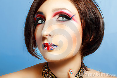Britain flag on her lips
