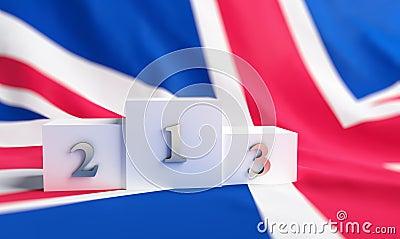 Britain flag on it a pedestal