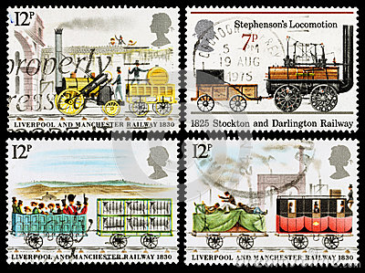 Britain Steam Train Postage Stamps Editorial Stock Photo