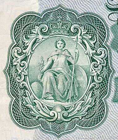 Britannia as depicted on an old English bank note