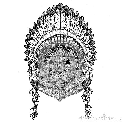 Brithish noble cat Male Wild animal wearing indian hat Headdress with feathers Boho ethnic image Tribal illustraton Stock Photo
