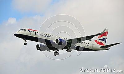 British Airways Embraer ERJ-190SR Editorial Stock Photo