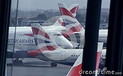 British Airways at London Heathrow, T5 Editorial Stock Photo