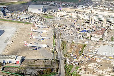 British Airways planes at Heathrow, from above Editorial Image