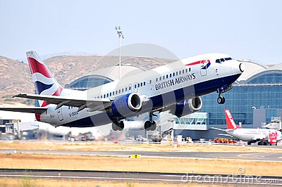 British airways running in piste of alicante airport, spain Editorial Photo