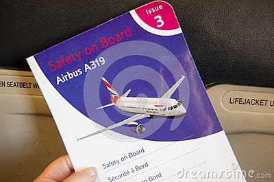 British Airways Safety Card Editorial Image